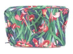 Vintage Floral Travel Cosmetic Hygiene Bag Orchid Handles Zip Closure Pockets
