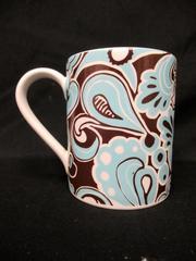 Carousel Corelle Corning Mug Tea Cup Blue Brown Turquoise Swirls LifeStyles