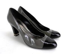 "ANN TAYLOR Gray & Black Patent Cap Toe ""Shelby"" Heels Career Professional Sz 10"