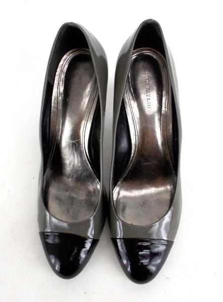 "ANN TAYLOR Gray & Black Patent Cap Toe ""Shelby"" Heels Career Professional Sz 10"