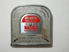 Vintage Atlantic Newark NJ Metal Tape Measure Tool 8 Ft White Tape
