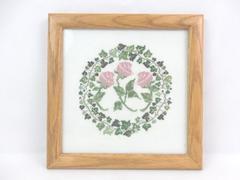 Framed Handmade Finshed Cross Stitch Piece Roses & Ivy Wood Frame 10.5 x 10.5