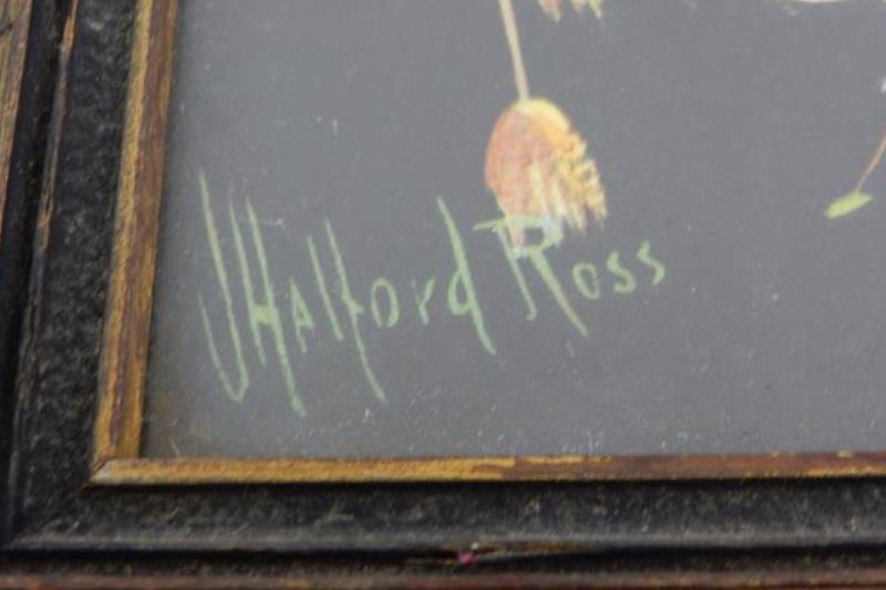 Vintage Framed J Halford Ross Chromolithograph Print Pheasants On A Tree Limb