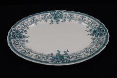 """Antique 1890's Platter Keeling & Co Oxford Blue Transferware 14.75"""""""