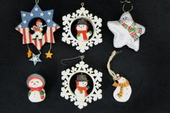 Lot of 6 Mixed Snowman Christmas Ornaments Snowflakes Stars Winter Wonderland