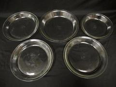 Lot of 5 Pyrex Clear Glass Pie Dishes 208 Three 209 210