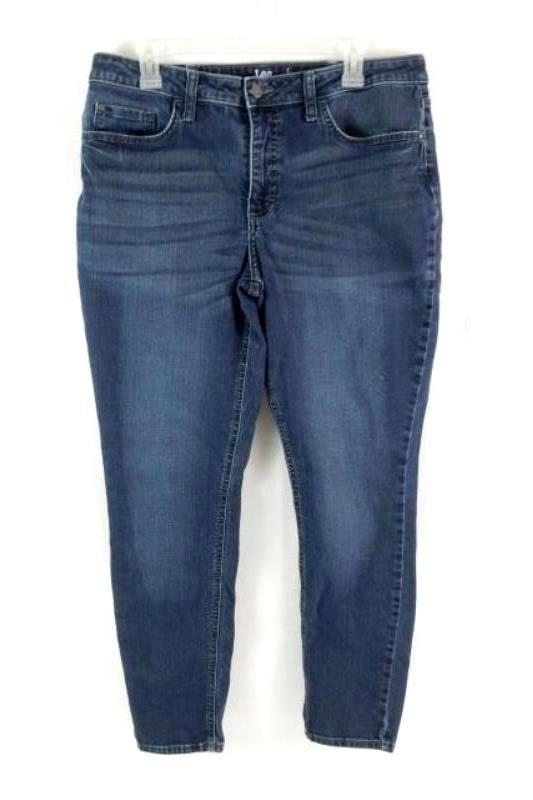 Lee Riders Jeans Mid Rise Skinny Dark Wash Women's Size 16 L Pockets