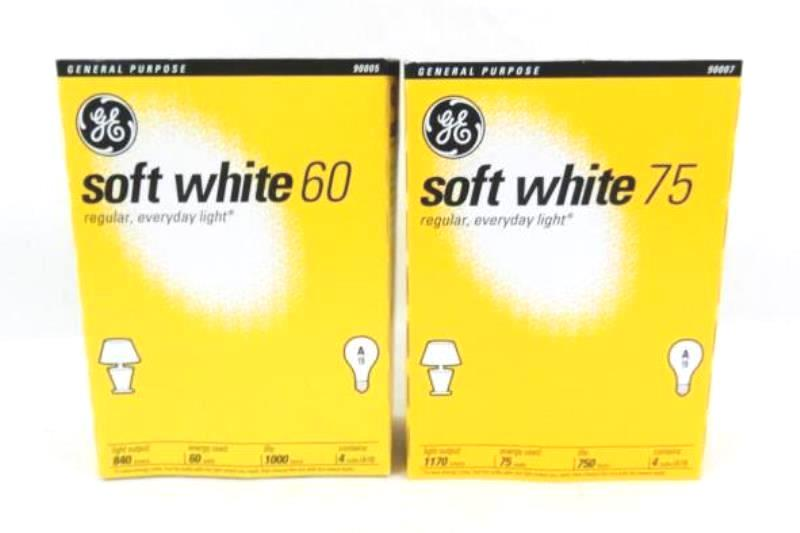 Lot of 6 NEW GE 60W 75W Light Bulb A19 Soft White 2 Boxes Missing 1