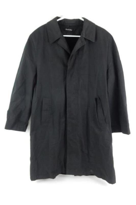 Vintage Women's Coat Fleece Lined Size R40 Black Button Up Front