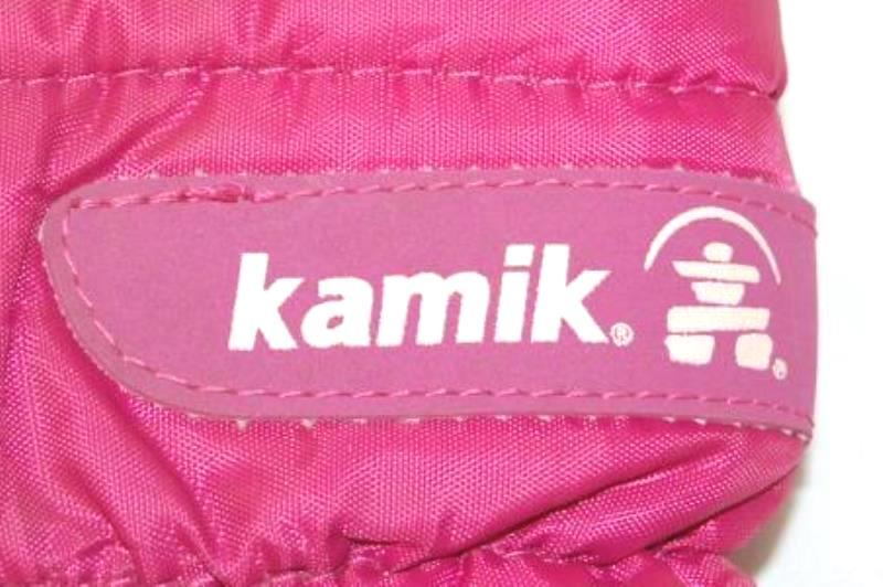 Kamik Girl's Winter Snow Boots Size 8 Black Pink Zipper Drawstring Closure