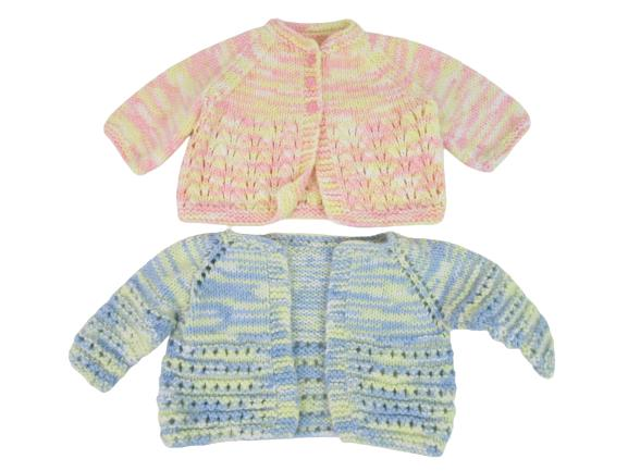 Lot of 2 Homemade Hand Knit Crochet Baby Girl Sweaters Cardigans See Measurement