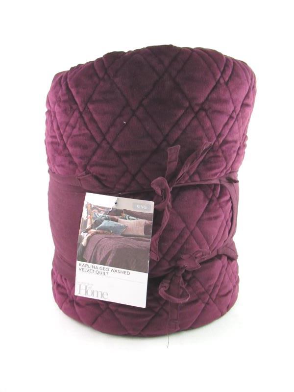 Nordstrom At Home King Size Karlina Geo Washed Velvet Quilt NWT Burgundy Stem