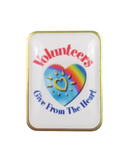 Lot of 2 Vintage Positive Promotions Volunteer Pins Lapel Give From The Heart