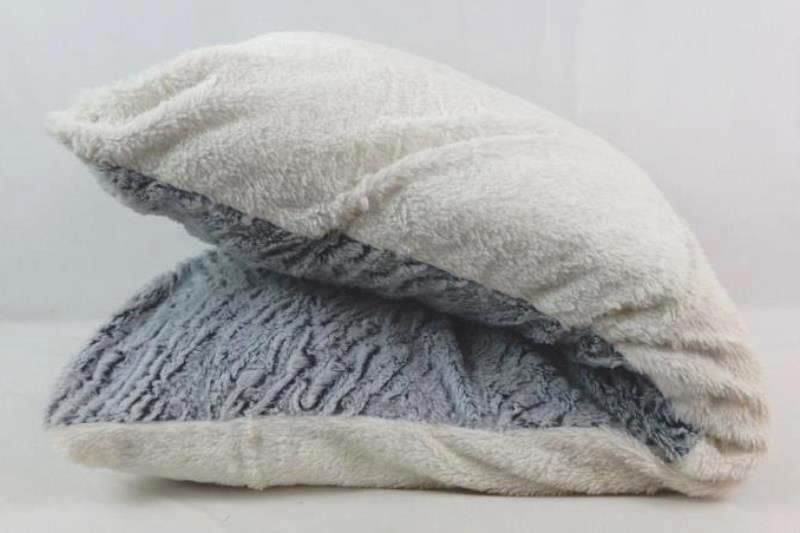 Fleece Body Pillow Blue White Fuzzy Soft Rectangle Shaped Polyester
