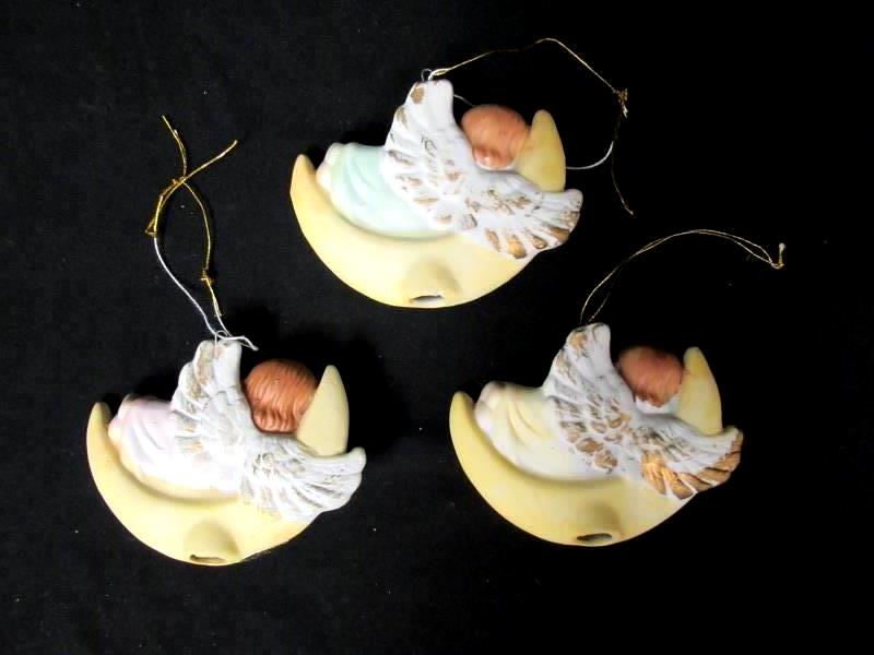Lot of 3 Vintage Angel Ornaments Ceramic R.O.C. Made in Taiwan