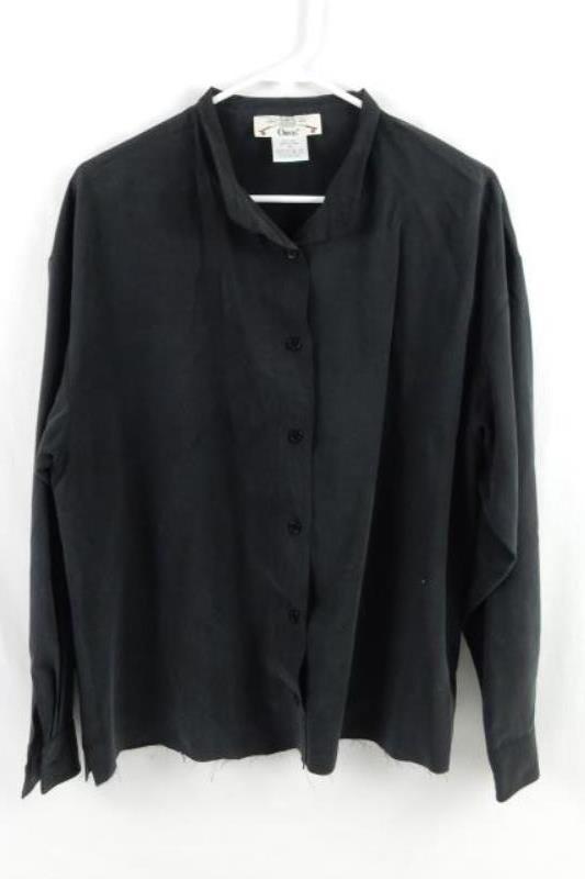 Vintage Orvis Silk Button Up Shirt Top Black Soft Women's Size M Raw Cut Hem