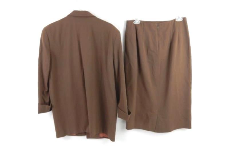Vintage Nordstom Townsquare Wool Blazer Skirt Suit Brown Women's Size 12