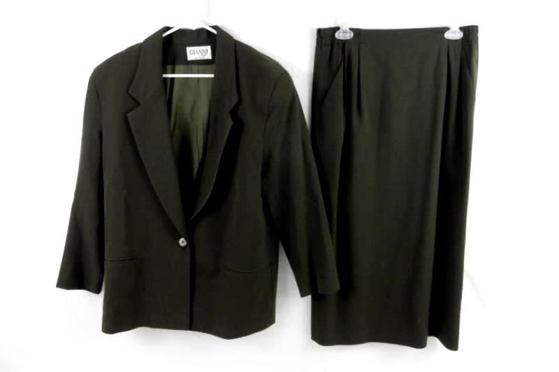 Vintage Gianni Sport Women's Suit Skirt Blazer Size 12 Dark Green Pure Wool