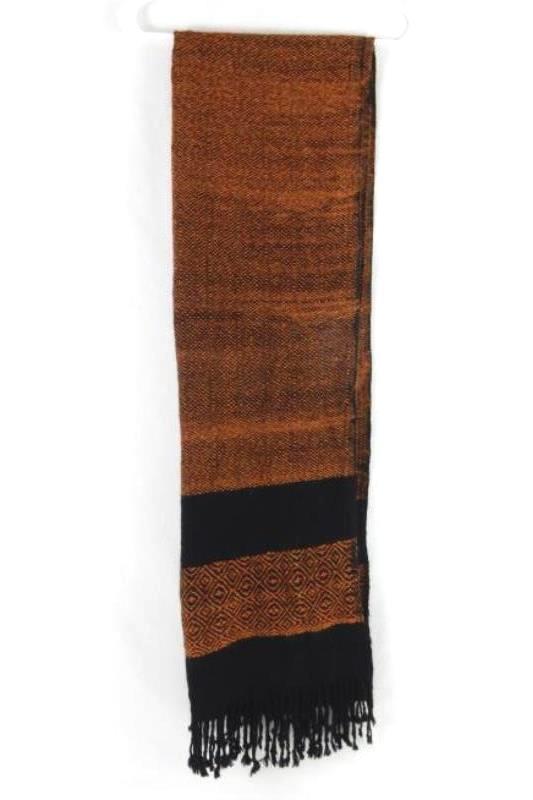 Thick Woven Women's Scarf Wrap Fringe Ends Black Orange Rust