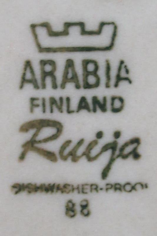 Lot of 2 Vintage Arabia Finland Pottery Dinner Plates 10in Ruija Pattern