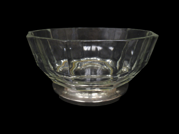 Vintage Crystal Paneled Bowl With Silver Plate Base Made in Italy