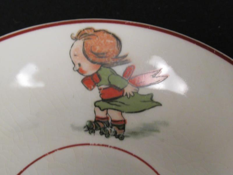 Vintage Elpco Porcelain Baby Plate Children Playing White 5.5in Round