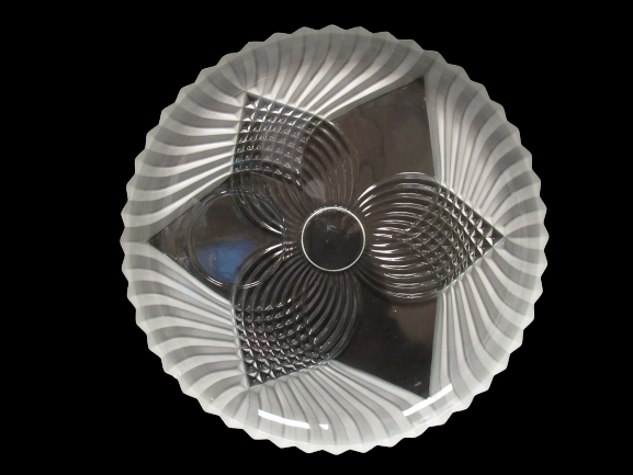 Tiara Glass Trillium Frosted Decorative Snack Plate Round Clear