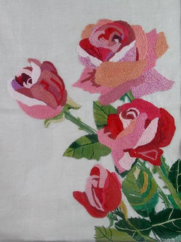 Vintage Homemade Completed Crewel Embroidery Piece Roses Framed And Matted