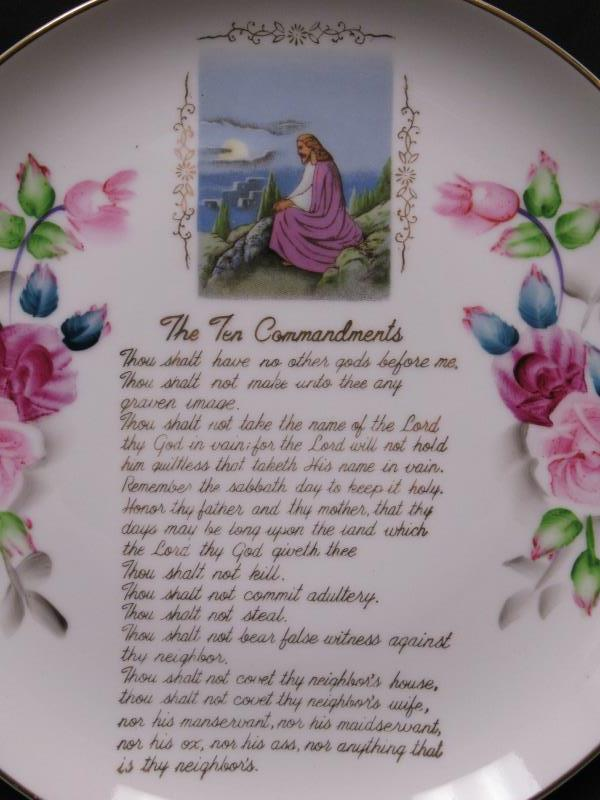 Porcelain Collectors Plate The Ten Commandments White With Roses