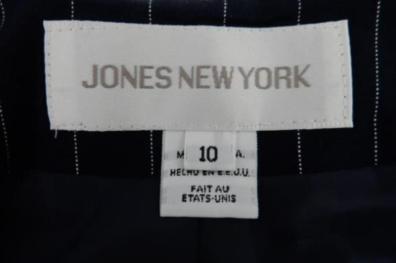 Vintage Jones New York Women's Blazer Jacket Long Length Navy Striped Size 10