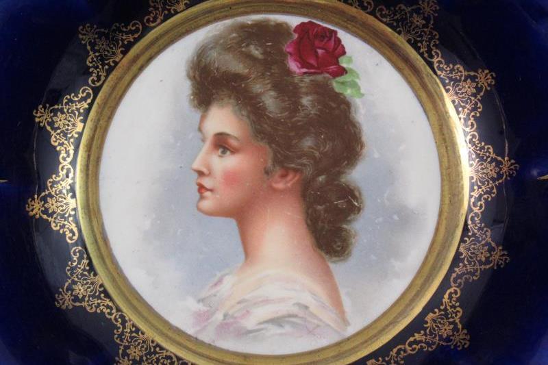 Vintage Empire China Bowl Cobalt Blue Gold Gild Woman Portrait