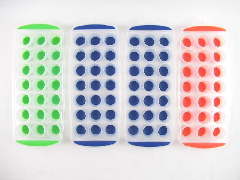 Set of 4 Ice Cube Trays Silicone Base Multi Color Clear Plastic Unbranded