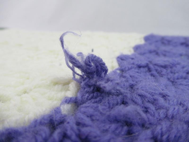 Vintage Hand Crochet Knit Afghan Throw Blanket Purple Pale Yellow Green Small
