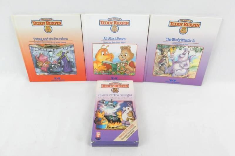 Lot of 3 Vintage 1985 Teddy Ruxpin Hardcover Books and 1 VHS Tape 1987