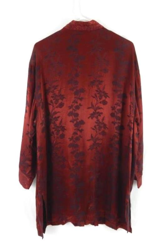 Vintage California Style Floral Red Satin Top Women's Size XL Long Sleeve