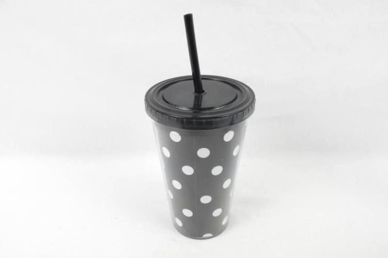 Lot of 3 Tumbler Cups with Straws Black White Polka Dot Purple Clear Tillamook