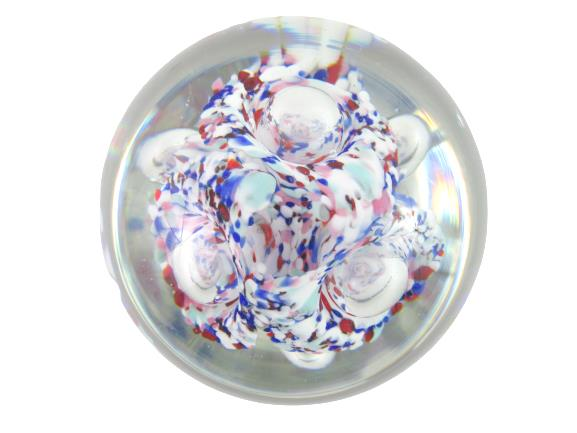 Hand Blown Art Glass Paper Weight With Stand Red White Blue Millefiori Bubbles