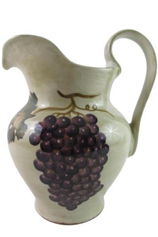 Z Gallerie Hand Painted Large Ceramic Pitcher Vineyard 13 in Tall