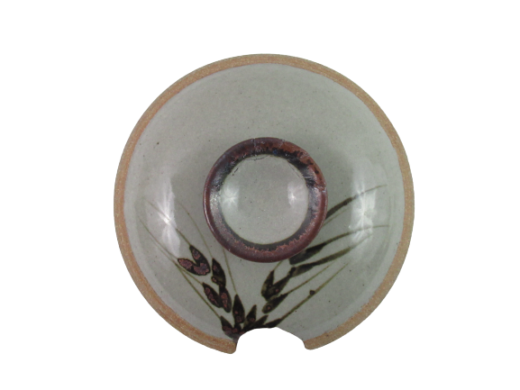 Pottery Bean Soup Pot With Lid Gray Wheat Pattern