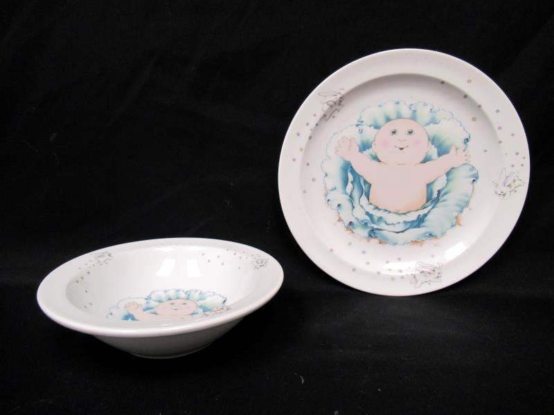 Cabbage Patch Kids Child's Porcelain Cereal Bowl and Plate 1984 Royal Worcester