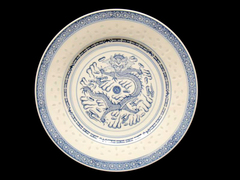 Porcelain Dinner Plate Chinese Dragon Motif 10 Inches Blue White Round