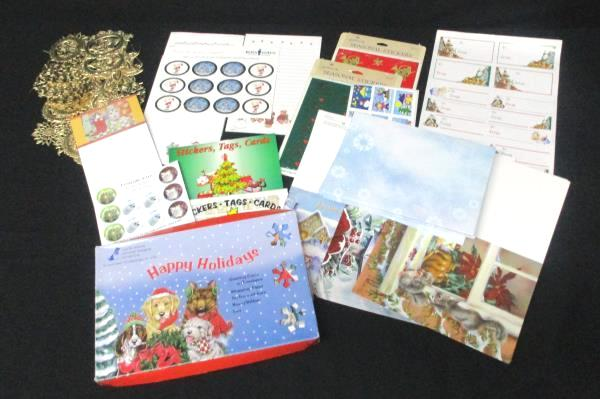 Christmas Lot Cards Envelopes Stickers Note Scratch Pads Animals Winter Scene