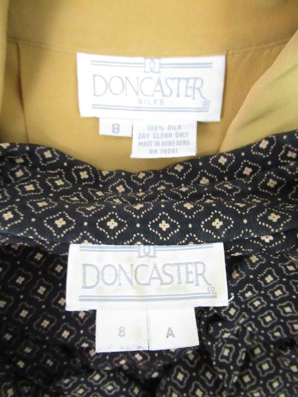 Lot of 2 Vintage Doncaster Women's Top Blouses Career Size 8 Silk Rayon Gold