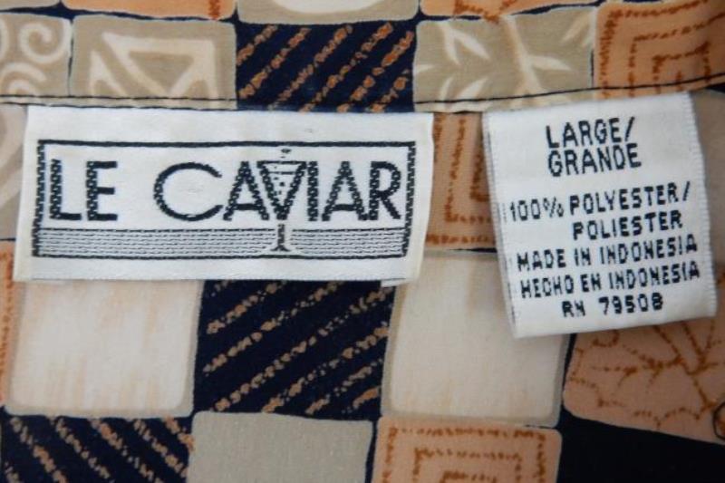 Vintage Le Caviar Women's Button Up Blouse Size Large Long Sleeve Brown Black