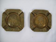 Lot Of 2 Vintage Brass Square Pharaoh Ash Trays