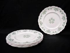 Lot of 5 Vintage Johnson Brothers China Luncheon Plates Rolland Green 9 Inch