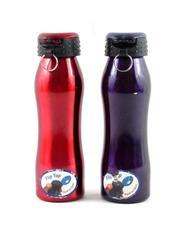 Lot of 2 Lifetime Brand Flip Top Metal Water Bottles Red Purple DFL Keychain