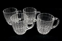 Lot Of 4 Vintage Clear Glass Mugs Ribbed With Teardrops And Starburst Bottom