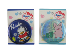 Lot of 2 Sanrio 50th Pin Back Buttons Pekkle and Zashikibuta Round Collectible