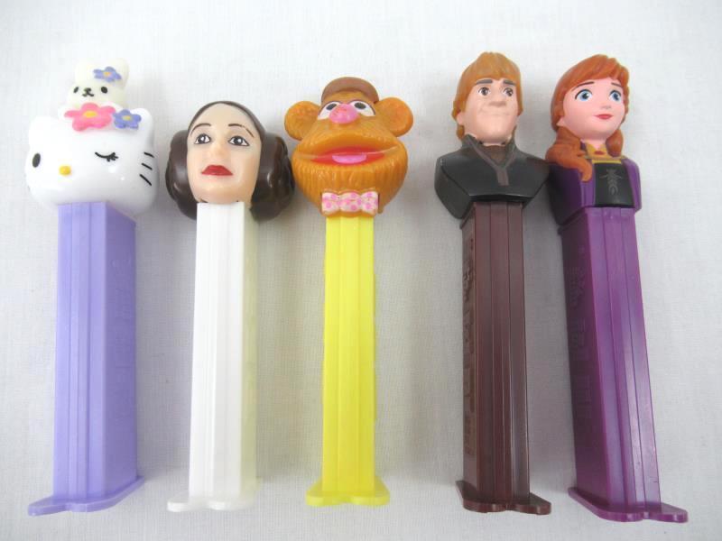 Lot of 5 Pez Dispensers Fozzie Bear Princess Leia Hello Kitty Anna Kristof